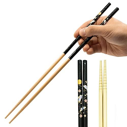 Cooking Chopsticks Long Japanese - Made in Japan | Bamboo Saibashi Cooking Chopsticks - 13in - Black