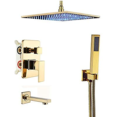 Rozin Gold 3-way Shower Diverter Kit Ceiling Mounted LED Light 16-inch Rainfall Showerhead Tub Tap with Hand Wand