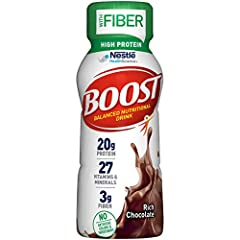 Boost high protein with fiber: Boost high protein with fiber nutritional shakes have 20 grams of protein for muscle health, 3 grams of fiber for digestive health plus 27 vitamins & minerals with 240 nutrient-rich calories for energy. High protein sha...