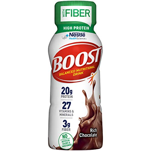 Boost High Protein with Fiber Balanced Nutritional Drink Rich Chocolate 8 fl oz Bottle 24 Pack
