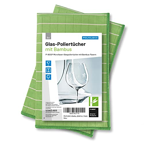 POLYCLEAN 2x Bambustuch – Glas-Poliertuch mit Bambusfasern – Fenstertuch für Glas und Scheiben - Streifenfreies Trockentuch (60x40 cm, 2 Stück)