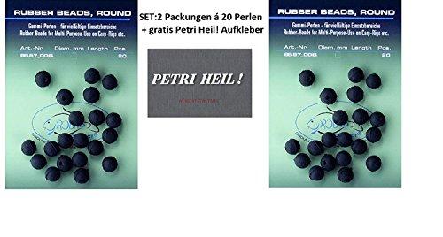 Jenzi Set: 2 Packungen (2X 20 Stück) Gummiperlen 10mm Rubber Beads+ gratis Petri Heil! Aufkleber