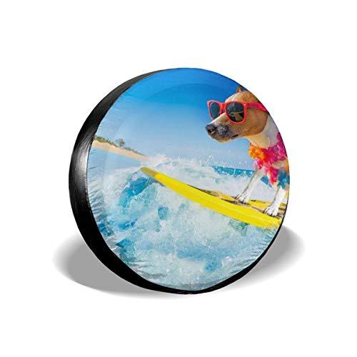 jingqi Perro Surfeando En Tabla De Surf (1),Fundas De Neumáticos De Repuesto,Cubierta De La Llanta,Cubierta De Neumático Bolsa,Funda Cubre Rueda De Recambio 17In
