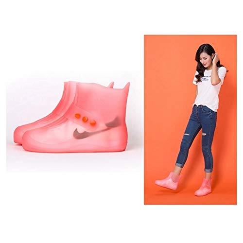 Cubierta impermeable para zapatos de lluvia de PVC integrado suela gruesa de zapatos cubierta de moda impermeable antideslizante zapatos Cove PingGongHuaKeJiYouXianGongSi (color: naranja)