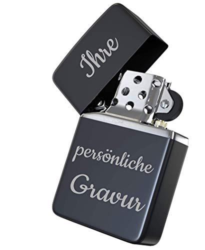 Geschenke für Männer mit Gravur - Zippo Feuerzeug für Papa/Bester Papa der Welt/Feuerzeug mit Gravur/Geschenkidee zum Vatertag - Chrome Brushed (schwarz)