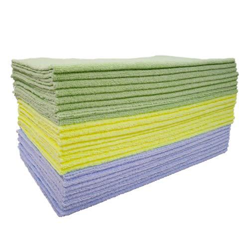 Polyte - Premium-Mikrofasertücher - ultraschallgeschnitten - Blau, Grün, Gelb - 36 x 36 cm - 24 Stück