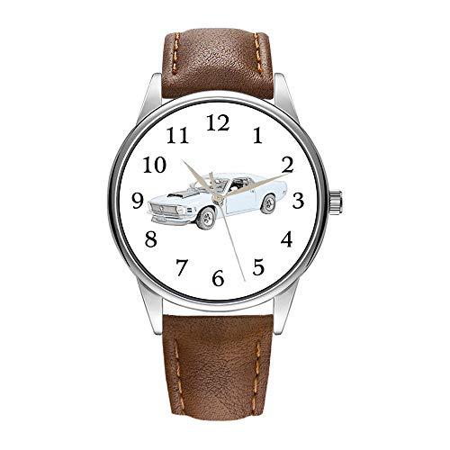 Herrenuhr braune Cortex Quarz-Uhr für Herren berühmte Luxus-Armbanduhr Quarzuhr für Werbegeschenk 1970 Ford Mustang Boss Armbanduhren