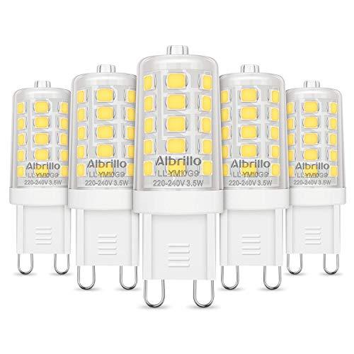 Albrillo 5er Pack 3.5W G9 LED Lampe 400 Lumen, Kein Flackern und 6000k kaltweiß G9 LED Leuchtmittel Ersatz 40W G9 Halogenlampe, 360° Abstrahlwinkel, nicht dimmbar