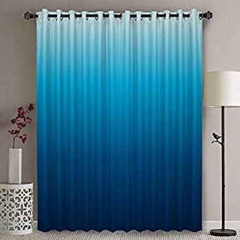 Wide Thermal Blackout Patio Door Curtain Panel - 90 Inch Long Grommet Top Thermal Insulated Bedroom Darkening Curtain - Ocean Draperies & Curtains Gradients of Blue Curtains for Sliding Glass Door
