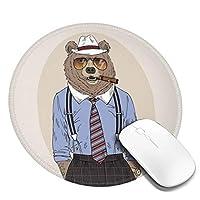 丸型マウスパッド ゲーミングマウスパッド 喫煙キリンプリント おしゃれ オフィス自宅兼用 滑り止めゴム底 耐洗い表面 厚地 精密度アップ 光学式マウス対応 20*20cm 厚さ3mm