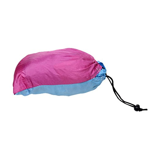 Generic Lightweight 2 Person Outdoor Camping Backpacking Parachute Nylon Swing Hammock Garden Leisure Patio Sleeping Bed with Straps and Carabiners - Blue + Pink