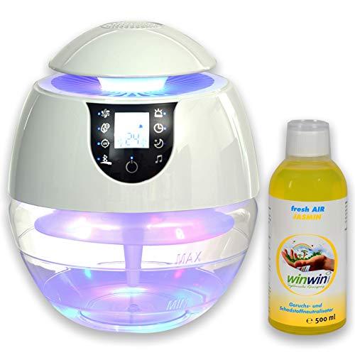 winwin clean Systemische Reinigung - AIR Blow III I Bluetooth I IONISATOR I LED I 3 LEISTUNGSSTUFEN I INKL. LUFTREINIGUNGS-Konzentrat Fresh AIR \'Jasmin\' 500ML