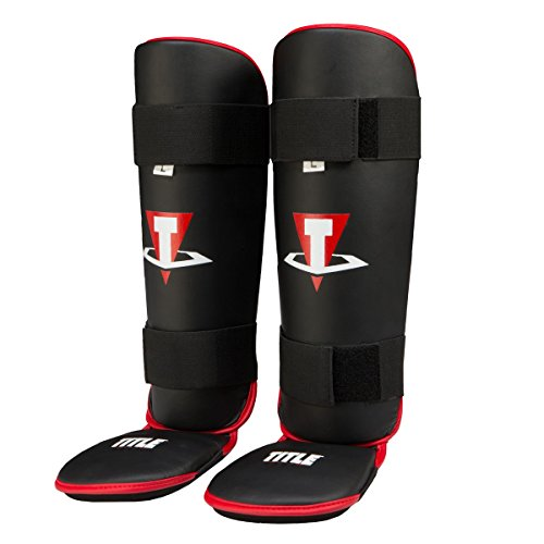 Title Conflict MMA Stand Up Shin Guards, Black/Red, Large