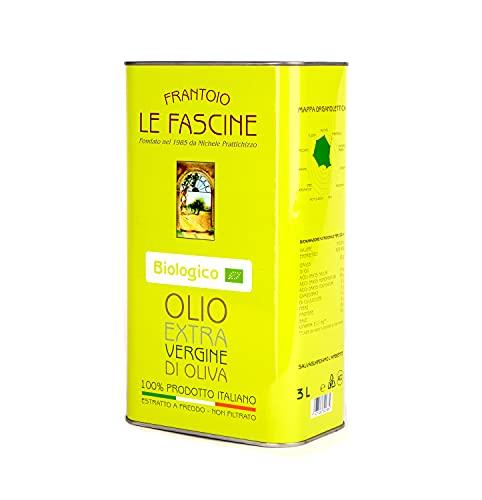 Le Fascine Huile d Olive Extra Vierge Provençale Bio 100% Italienne Pugliese Produit à partir d un seul cultivar provençal (Peranzane) (boîte de 3 litres)