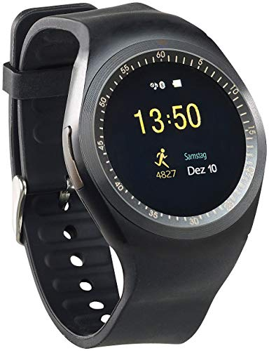 simvalley MOBILE Smartwatch SIM Android: 2in1-Uhren-Handy & Smartwatch für Android, rundes Display, Bluetooth (Fitness-Armband-Uhr)