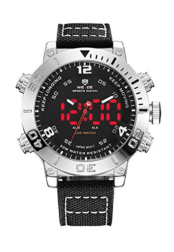 WEIDE Men Analog Digital Watch Waterproof LED Quartz Dual Time Watches for Men (Black)