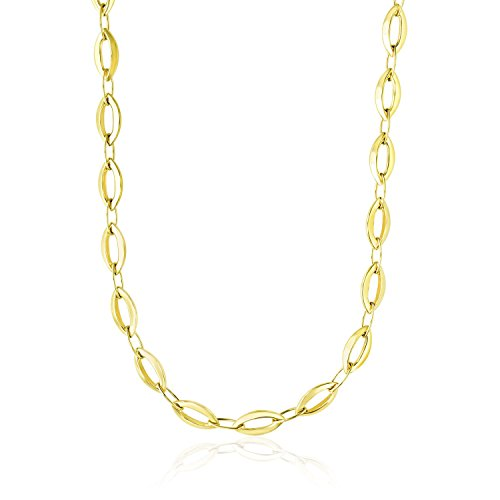 Diamond2Deal 14ct Yellow Gold Cable Marquis and Oval Link Design Necklace for Women