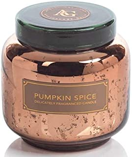 Zodax Pumpkin Spice Copper Glass Apothecary Guild 14 oz Scented Jar Candle