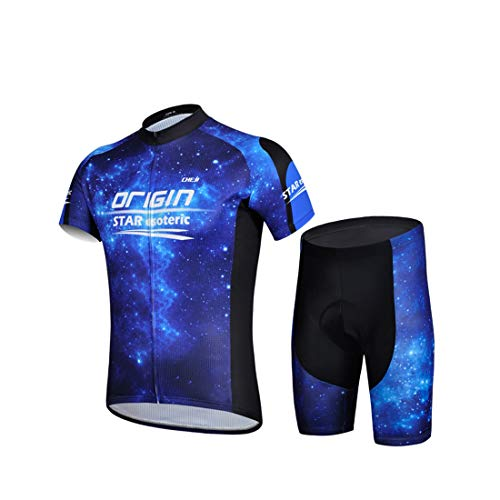 GWELL Herren Radtrikot Galaxie Fahrradbekleidung Set Trikot Kurzarm + Shorts mit Sitzpolster für Radsport Outdoor Blau L