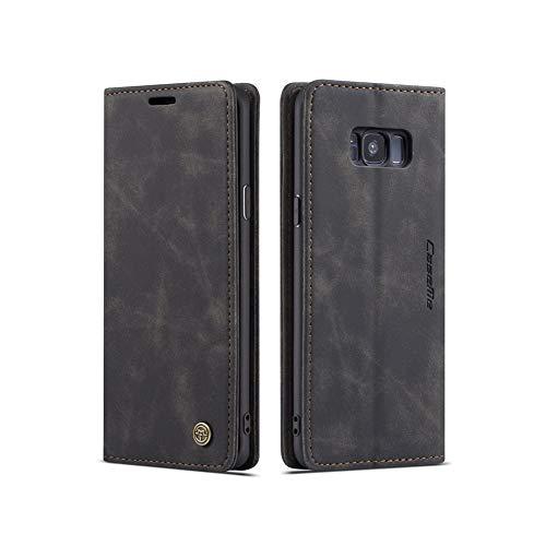 UEEBAI Handyhülle für Samsung Galaxy S8 Plus, Retro Matte Handyhülle PU Fallschutz Lederhülle Weich TPU Klapphülle mit Kartenfach Standfunktion Magnetverschluss Flip Hülle Handytasche - Schwarz