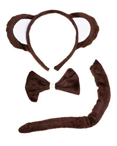 petitebelle Singe Marron Bandeau Noeud Papillon Queue Costume 3pièces pour enfants - marron - Taille Unique
