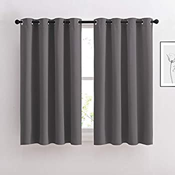 NICETOWN Blackout Curtains Panels for Bedroom - Window Treatment Thermal Insulated Solid Grommet Blackout Drapes for Living Room  Set of 2 Panels 52 by 45 Inch Grey