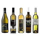 White Wine Sampler - Five (5) Non-Alcoholic Wines 750ml Each - Featuring Ariel Chardonnay, Lussory Airen, Cardio Zero White, Bianco Dry, and Tautila Blanco