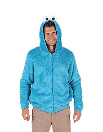 Sesame Street Cookie Monster Character Hoodie (Mens Large) Blue