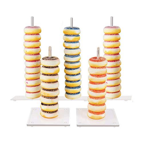 Donut-Ständer, 5 Stück, durchsichtige Acryl-Donut-Ständer, Dessert-Halter für Hochzeit, Geburtstag, Party, Dekorationen, 38,1 cm und 25,4 cm, Partygastgeschenke. 5 Stück