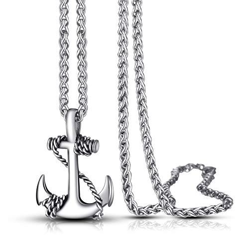 Urban Jewelry - Collar de ancla para hombre y mujer – Radiante acero inoxidable 316L color plata colgante de ancla náutica con cadena de acero – accesorio unisex, para él o para ella