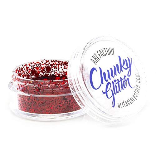Art Factory Chunky Glitter - Cherry Bomb (10 ml), de qualité cosmétique Polyester Glitter pour le visage, corps, cheveux