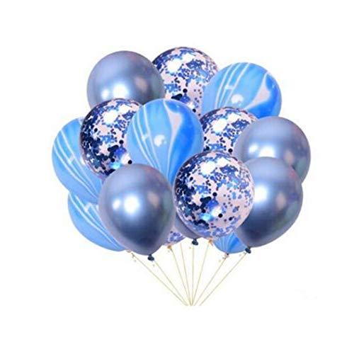 15 Stück 30,5 cm Party Dekoration Latex aufblasbare Luftballons Set Metall Achat Pailletten Ballon Marmor Konfetti Ballon Bouquet Geburtstag Party Dekoration Hochzeit Baby Dusche Zubehör Fot