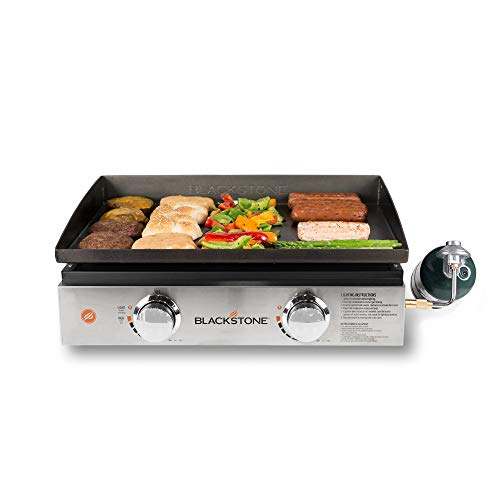 "Blackstone 1666 Stainless Steel 22"" Tabletop Griddle with Front Plate"