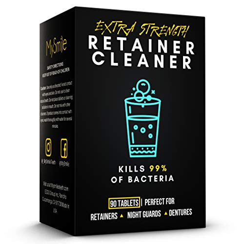 MySmile Retainer Cleaner Tablets, Denture Cleaning Tablets in 3 Minutes, Dental Retainers for Dentures, Retainers, Mouth Guard and Dental Appliances, Denture Cleaner Tablets, Made In USA(90Pcs)