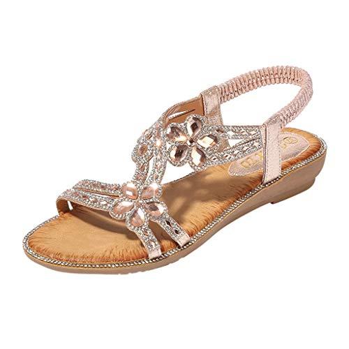 Sandales Grande Taille Ete 2019 Honestyi Chaussures Bohême Escarpins à Talons Bas Sandales Bouche de Poisson Tongs de Plage Chaussures Strass Fleur Shoes de Plage