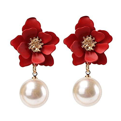 SMEJS Pendientes colgantes de perlas con flores elegantes Pendientes elegantes Pendientes hipoalergénicos Joyas Regalos de cumpleaños para mujeres y mujeres, Rojo