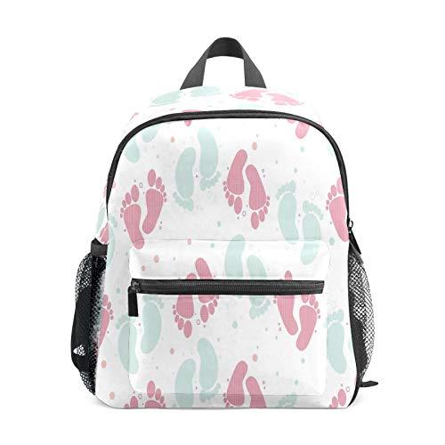 Mochila infantil para niños de 1 a 6 años de edad, mochila perfecta para niños y niñas de 1 a 6 años de edad, mochila perfecta para niños pequeños a jardín de infancia, huella de bebé, rosa y azul