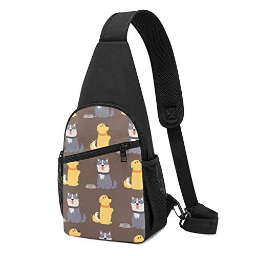 Sunny R Herren Brust Pack Nette Hunde Lustige Welpen Comic Terrier Canine Leichte Umhängetasche mit Verstellbarem Schultergurt zum Einkaufen Wandern Outdoor Sportarten