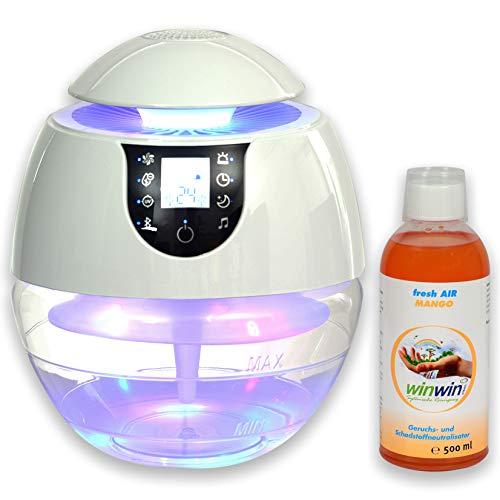 winwin clean Systemische Reinigung - AIR Blow III I Bluetooth I IONISATOR I LED I 3 LEISTUNGSSTUFEN I INKL. LUFTREINIGUNGS-Konzentrat Fresh AIR Mango 500ML