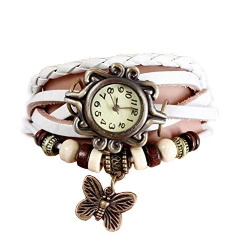 Fanessy Papillom Orologio da donna, con cinturino in pelle PU con farfalla, al quarzo, stile classico, intrecciato, Vintage, 6 colori tra cui scegliere bianco