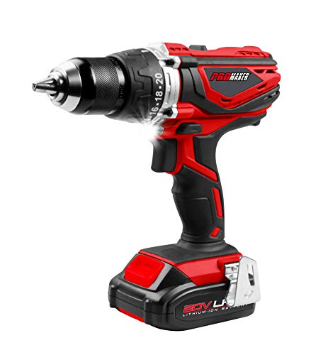 PROMAKER 20V Hammer Drill/Drill Driver LED Light. 2 LI-ON Battery. PRO-TIP20