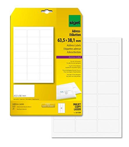 SIGEL LA320 abgerundete Adress-Etiketten weiß, 63,5 x 38,1 mm, 525 Etiketten = 25 Blatt