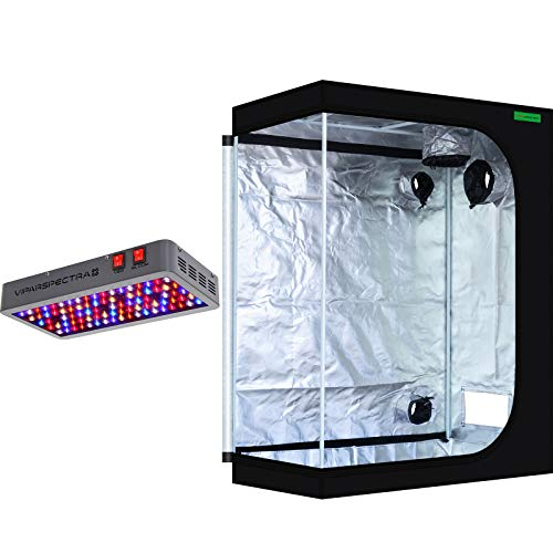 """VIPARSPECTRA 48""""x24""""x60"""" Mylar Hydroponic Grow Tent + 450W LED Grow Lights for Indoor Plant Growing and Flowering"""