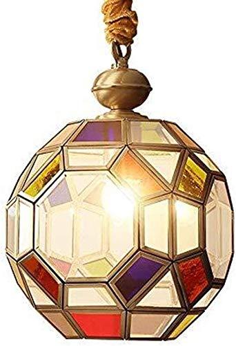 Glazen hanglamp, ketting, verstelbare plafondlamp, meerkleurig glas hanglamp, 1 lamp, minihanglamp, bol, één koper, druppelverlichting voor de Villa eetkamer, veranda buiten