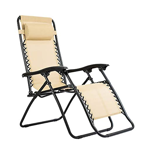 Leisure Chair For Camping And Fishing 300 lbs Weight Capacity Patio Lounge Chair, Outdoor Folding Adjustable Reclining Chairs, Folding Zero Gravity Rocking Lounge Chair (Color : Beige)