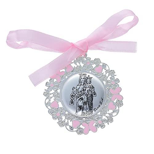 Medalla para Cuna/Carro Virgen del Carmen Esmalte Rosa Plata Bilaminada