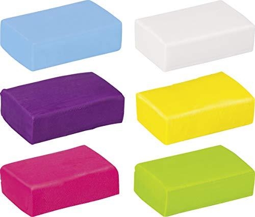 Knorr prandell 212159051, Modelliermassen-Set (6x20g), Colorpack Fun, Kneten & Radieren mit den Farben weiß, zitrone, pink, violett, hellblau, hellgrün