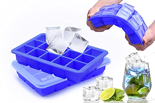 Eiswürfelformen mit Deckel aus Silikon,FDA Zertifiziert,15-Fach 0,5L 100% BPA Frei,Eiswürfelbehälter,Fruchteiswürfel Ice Clip Bier Cube Tray ,Süßigkeiten,Schokolade,Bars&Party (Blau 2 Stück)