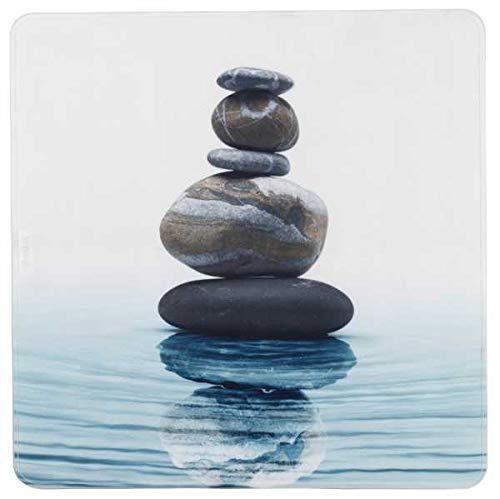 WENKO Duscheinlage Meditation, Duschmatte, Badewanneneinlage, Anti Rutsch Matte, Quadratisch, Weiß, 54 x 54 cm