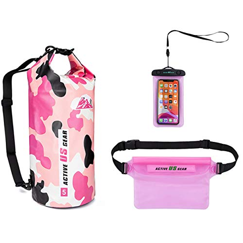 Waterproof Dry Bag with cell phone Pouch and Waist Bag Roll Top Dry Compression Sack Keeps Gear Dry for Kayaking, Swimming,Rafting, Boating, Camping,Fishing, Hiking, Snorkelling Camo Pink beach bag 5L